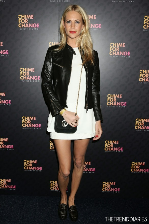 poppy-delevingne-sound-chime-for-change-gucci-style-bag-white-dress-leather-jacket-studded-loafers-1