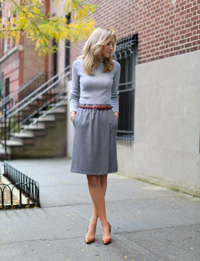 Full-look-down-gray-on-gray-mango-ralph-lauren-cognac-brown-caramel-braided-belt-pointed-pumps-heels-fall-2013-fashion-
