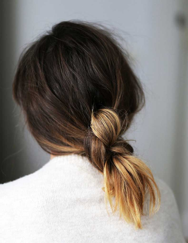 Le-Fashion-Blog-Hair-Inspiration-How-To-Low-Knotted-Knot-Ponytail-Ombre-Hair-Color-White-Sweater-Via-Love-Shop-Share