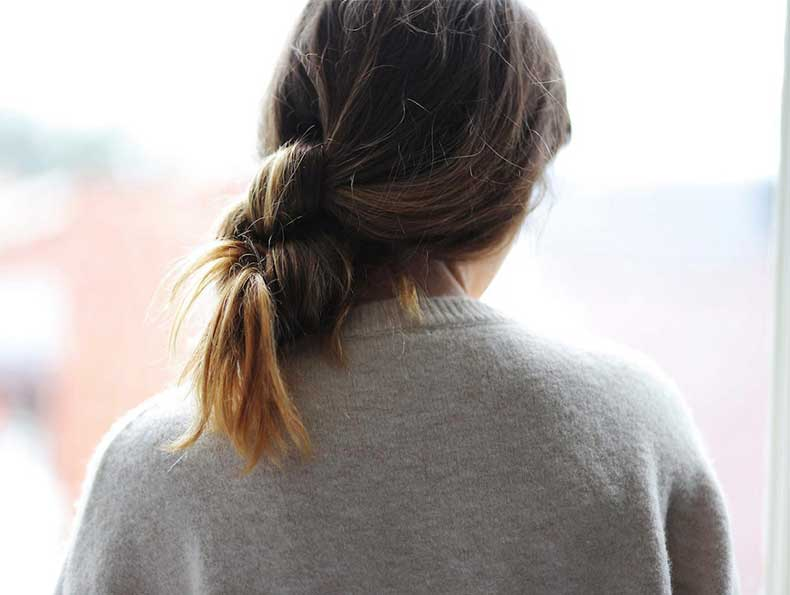 Le-Fashion-Blog-Hair-Inspiration-How-To-Ombre-Low-Knotted-Knot-Ponytail-Bun-Sweater-Via-Love-Shop-Share