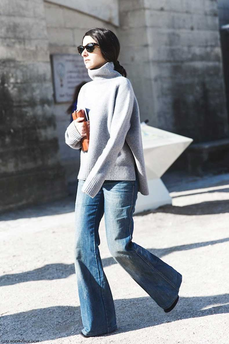 3-Le-Fashion-Blog-9-Ways-To-Wear-Flared-Jeans-Wide-Leg-Denim-Street-Style-Grey-Sweater-Via-Collage-Vintage