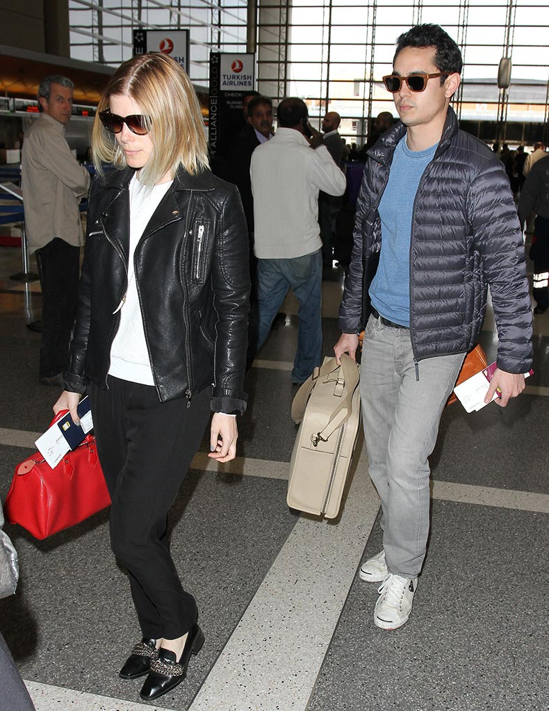 Kate-Mara-kept-things-edgy-black-motorcycle-jacket-loafers