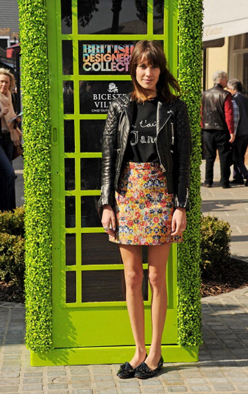 alexa-chung--2012--black-patent-loafer-flats--floral-print-skirt--j-t-aime-shirt-black-leather-motorcycle-jacket