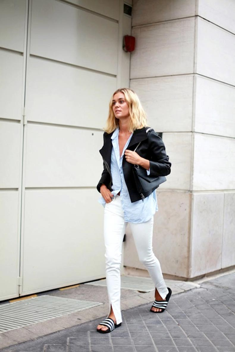 21-Le-Fashion-Blog-30-Fresh-Ways-To-Wear-White-Jeans-Jacket-Blue-Button-Down-Shirt-Adidas-Slide-Sandals-Via-Adenorah