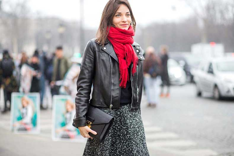 black-moto-jacket-leather-midi-skirt-red-scarf-maria-duenas-editor-style-pfw-street-style-via-the-styleograph