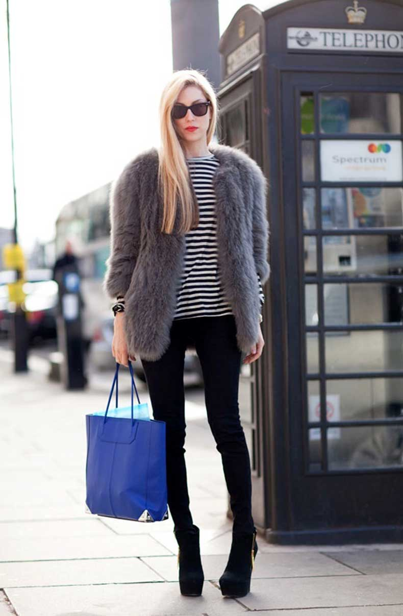 Le-Fashion-Blog-7-Ways-To-Wear-Stripes-In-Winter-Red-Lipstick-Fur-Coat-Striped-Tee-Skinny-Black-Pants-Platform-Boots-Joanna-Hillman
