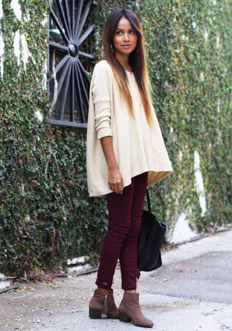 loose-sweater-and-maroon-skinny-jeans