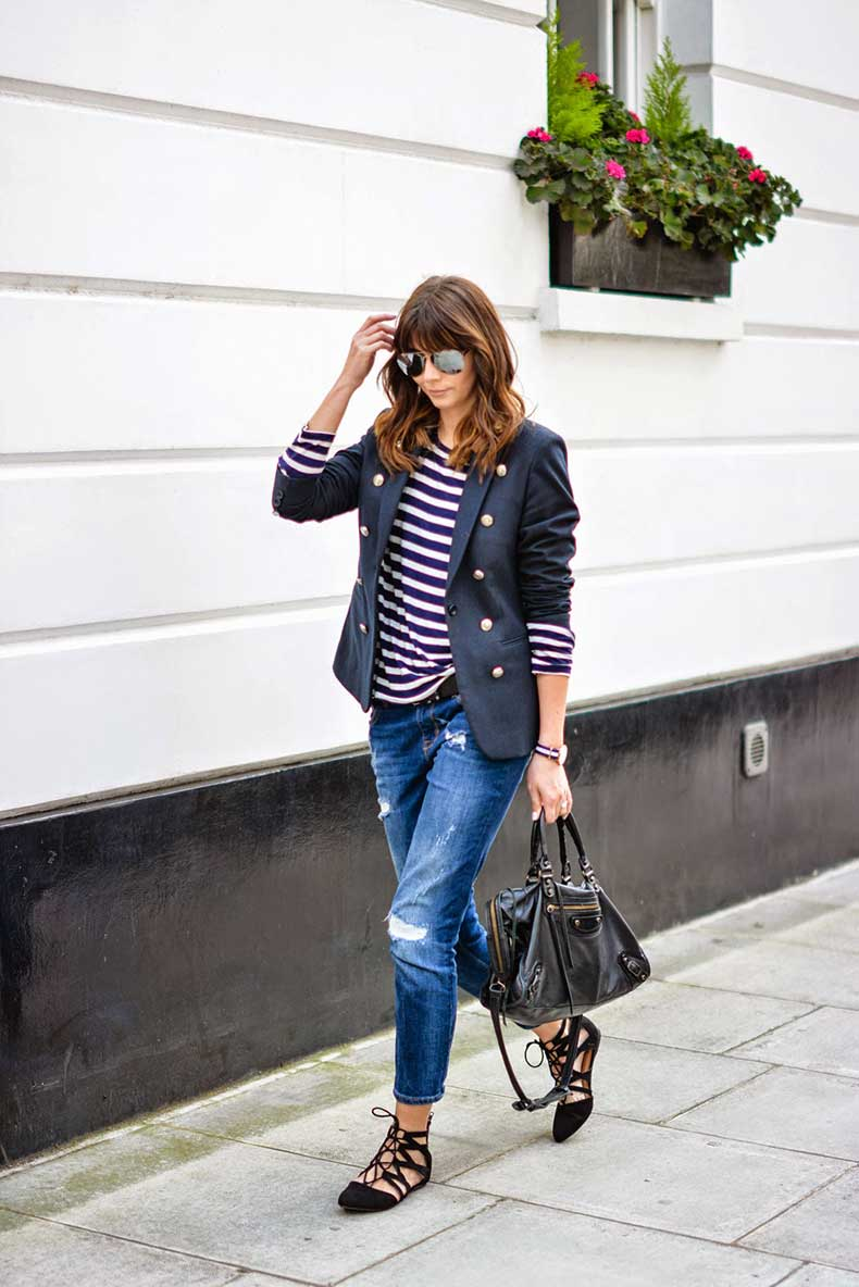 _Balenciaga-city-bag-black-Ripped-boyfriend-jeans-breton-stripe-top-Superdry-muse-navy-blazer-mirrored-sunglasses-OOTD-casual-weekend-outfit-street-style