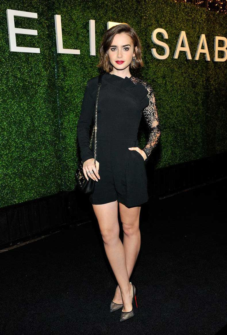 holiday-party-evening-romper-cocktail-black-dress-alternative-lily-collins-via-popsugar.com_