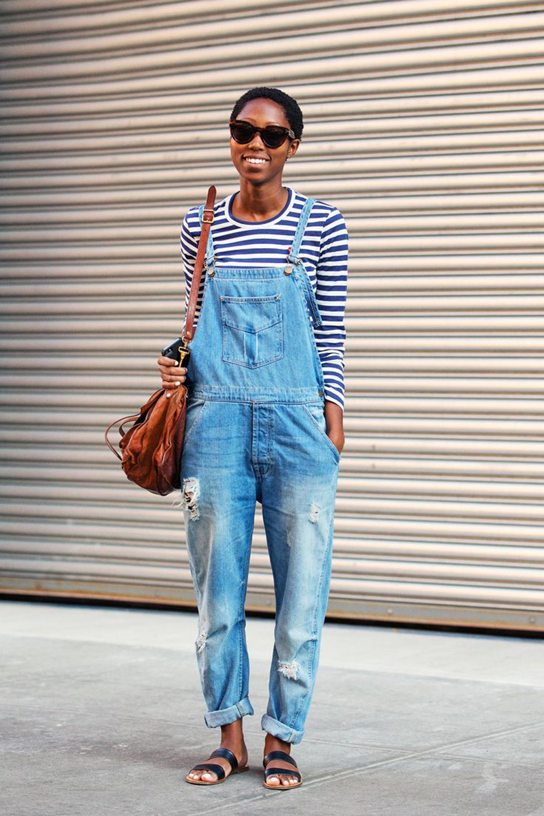 overalls-distressed-striped-tee-stripes-sandals-slides-via-refinery29.com_
