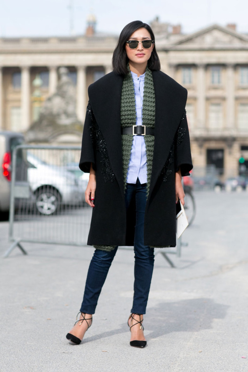 fall-layers-belted-black-coat-scarf-sweater-cardigan-button-up-shirt-lace-up-heels-skinny-jeans-fall-work-weekend-outfit-imaxtree-640x960
