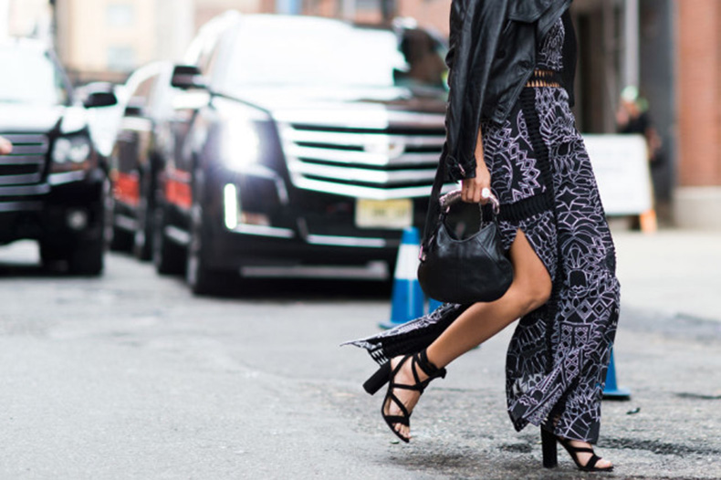 nyfw-fall-outfits-via-elle.com-maxi-dress-lace-up-sndals-black-leather-moto-jacket-slit-evening-to-day-night-to-day-dressing-style-hacks-fall-outfit-640x426