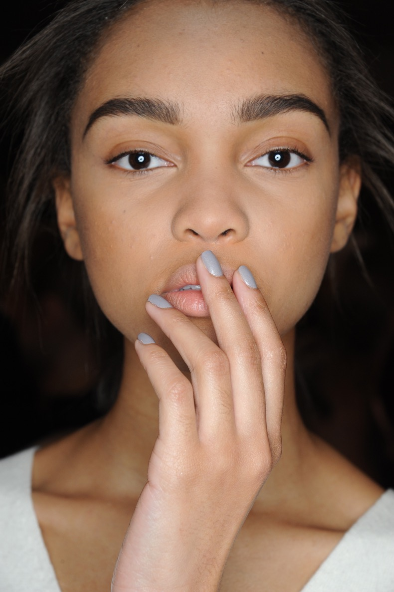 Models backstage at Sally LaPointe Fall 2015 Collection, nails by Morgan Taylor, held at Industria in New York City, Friday, February 13, 2015.  (photo by Katy Winn-Graylock.com)