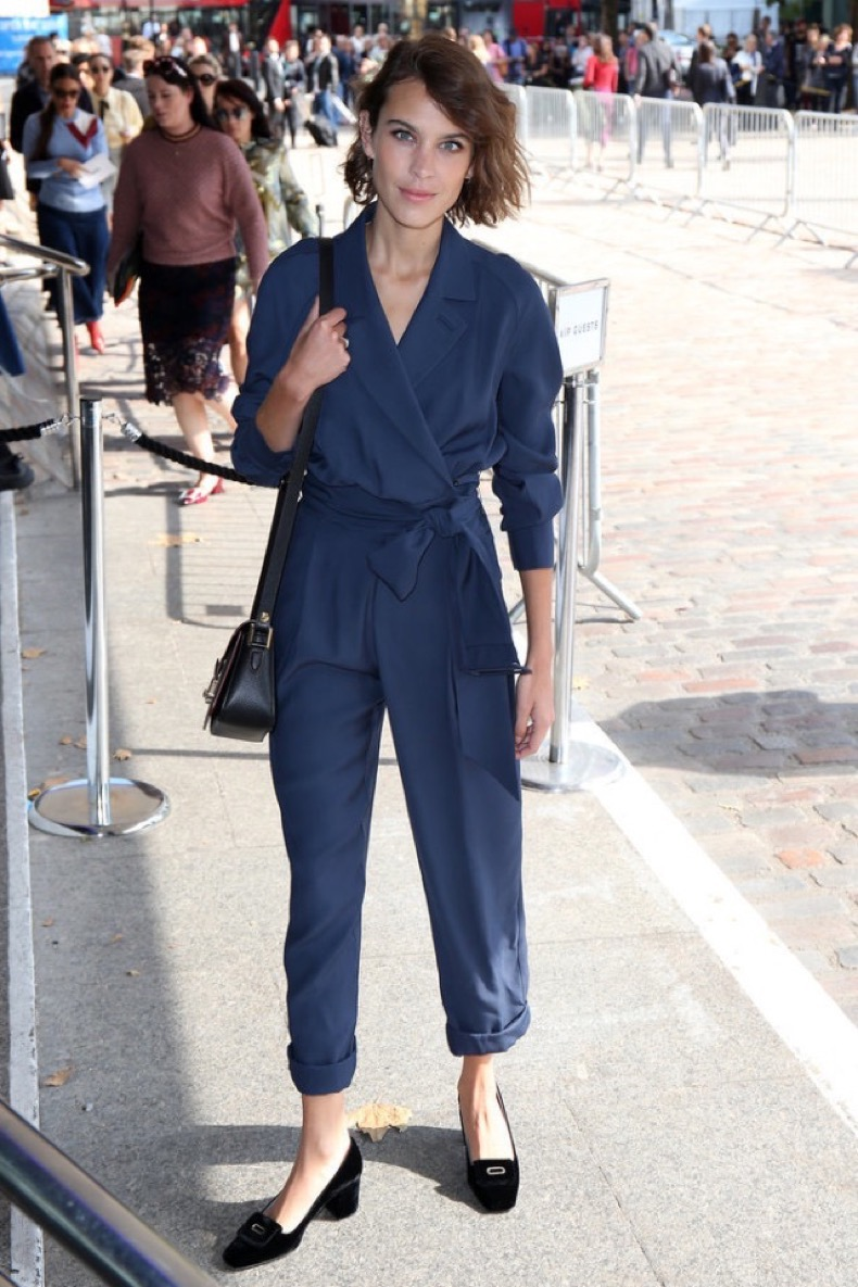navy-jumpsuit-loafers-night-out-going-out-alexa-chung-lfw-fall-fashion-london-fashion-week-street-style-via-popsugar-640x960