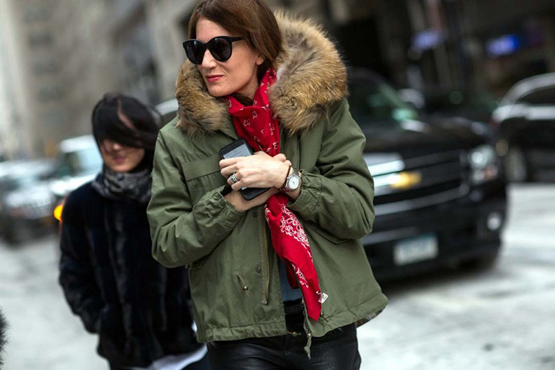 nyfw-army-green-parka-with-fur-bandana-print-scarf-via-thestyleograph