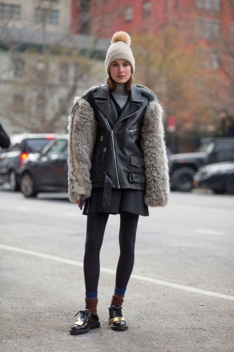 pom-pom-beanie-mixed-materials-mini-skirt-tights-socks-and-loafers-creepers-fur-trim-moto-jacket-winter-outfits-what-to-wear-when-its-freezing-nyfw-2016-street-style-hbz