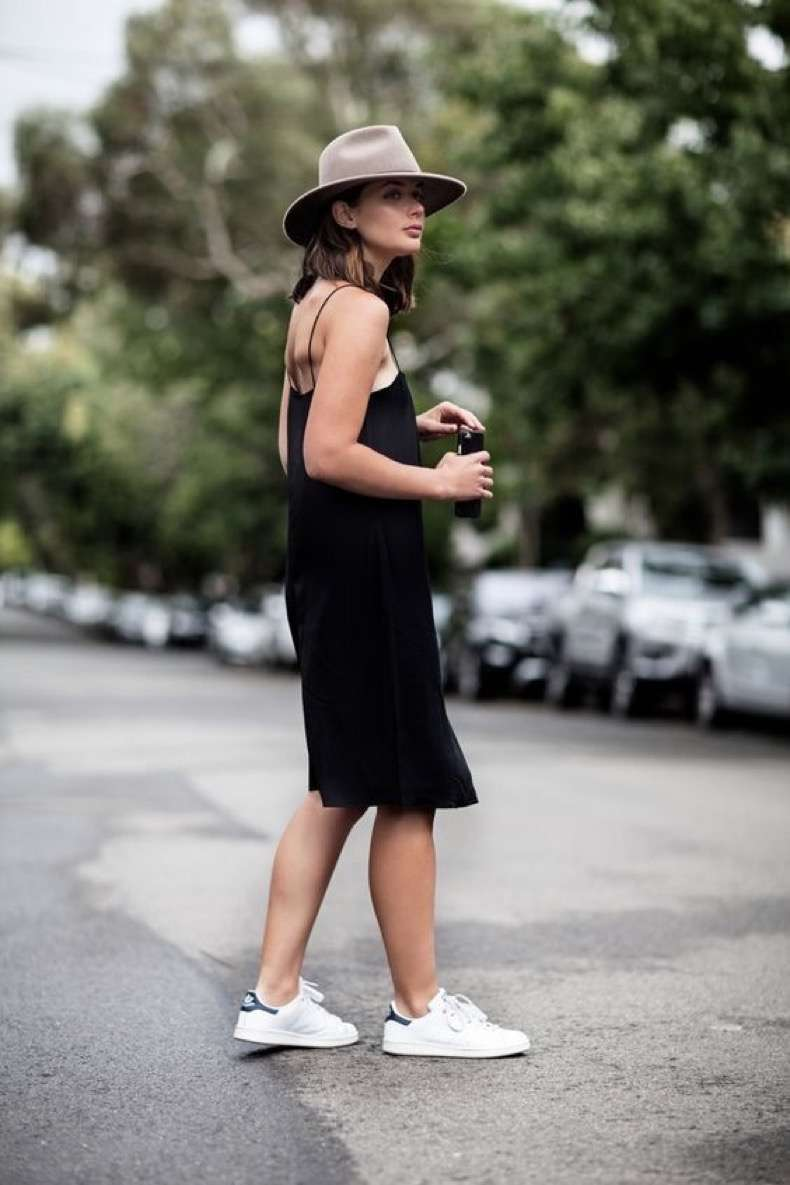 Black-Slip-Dress-and-Sneakers