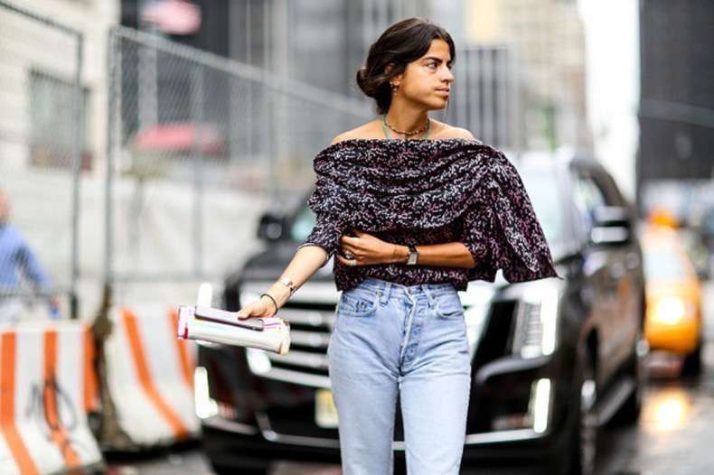 nyfw-off-the-shoulder-high-waisted-jeans-going-out-top-draped-clutch-layered-boho-necklaces-mom-jeans-blogger-style-leandra-medine-via-popsugar-640x426