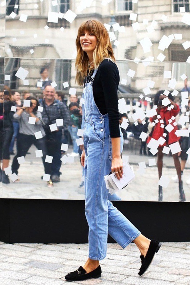 Le Fashion Blog London Street Style Veronika Heilbrunner Bangs Denim Jean Overalls Black Suede