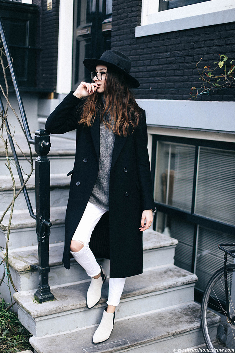 White-ripped-jeans-in-winter-Maison-Scotch-double-breasted-black-classic-coat-Cos-mohair-grey-turtleneck-pointed-suede-ankle-boots-Amsterdam-fashion-blogger-style