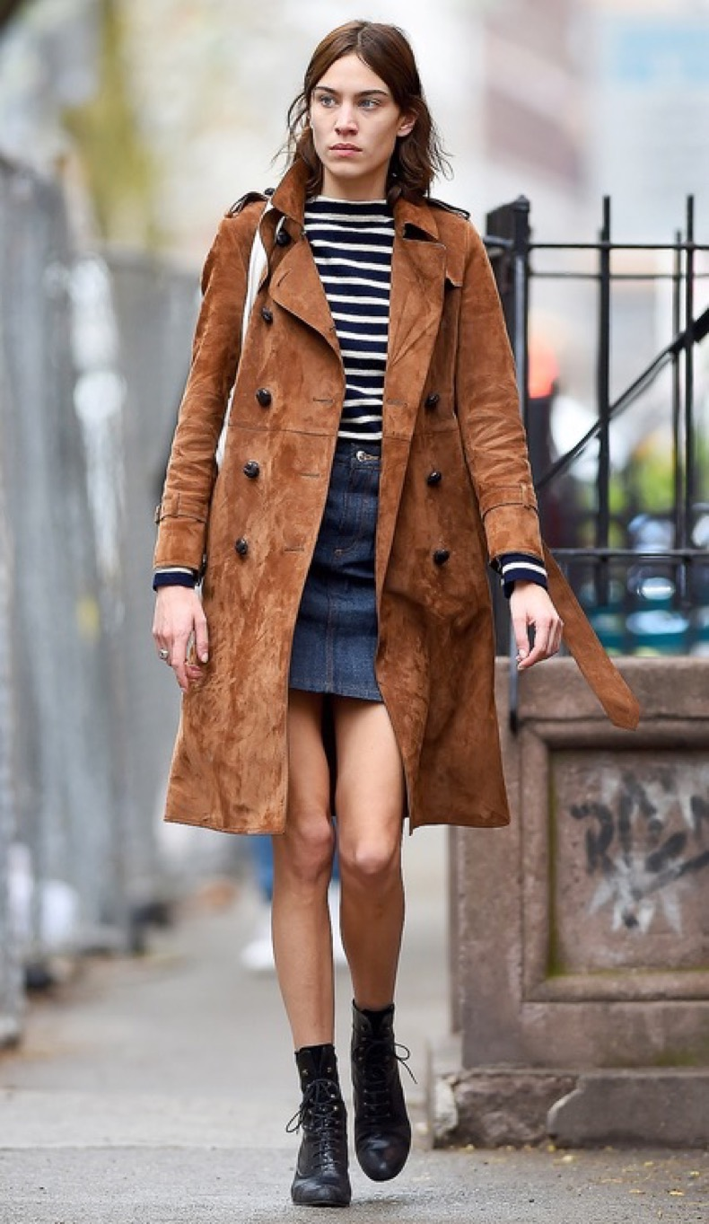 Alexa Chung seen wearing a brown coat and jean skirt in New York City Pictured: Alexa Chung  Ref: SPL1255742  010416   Picture by: Robert O'neil/Splash News Splash News and Pictures Los Angeles:	310-821-2666 New York:	212-619-2666 London:	870-934-2666 photodesk@splashnews.com