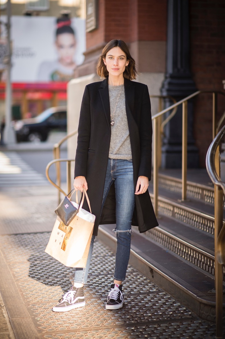 NEW YORK, NY - DECEMBER 15:  Alexa Chung seen in the streets of Manhatttan wearing a cotton coat and sneakers on December 15, 2015 in New York City.  (Photo by Timur Emek/Getty Images)