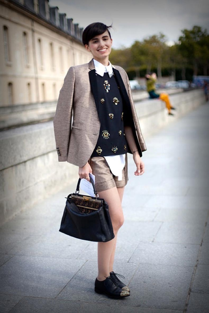 mod-street-style-white-collar-shirt-paris-fashion-week-short-hair-masculine-boy-inspired-school-look-miu-miu-embellished-sweater-gold-shorts-contract-color-block-blazer-jacket-fendi-bag