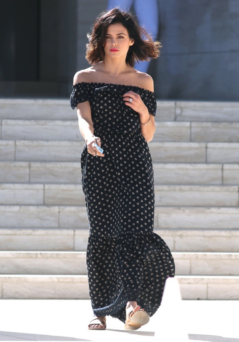 EXCLUSIVE: April 15 2016 Jenna Dewan Tatum is pictured leaving a photoshoot with her mother Nancy Lee Bursch, at Milk Studios in Los Angeles. The dancer took part in a mother-daughter photoshoot with her mom inside the studio. At one point Jenna and her mom pulled the same pouted facial expressions as they walked down the steep steps. Jenna wore a gold necklace for the shoot, with the name of her daughter Everly on it. Pictured: Jenna Dewan-Tatum & Her Mom Nancy Lee Bursch Ref: SPL1265011  150416   EXCLUSIVE Picture by: Bello / Splash News Splash News and Pictures Los Angeles:310-821-2666 New York:212-619-2666 London:870-934-2666 photodesk@splashnews.com