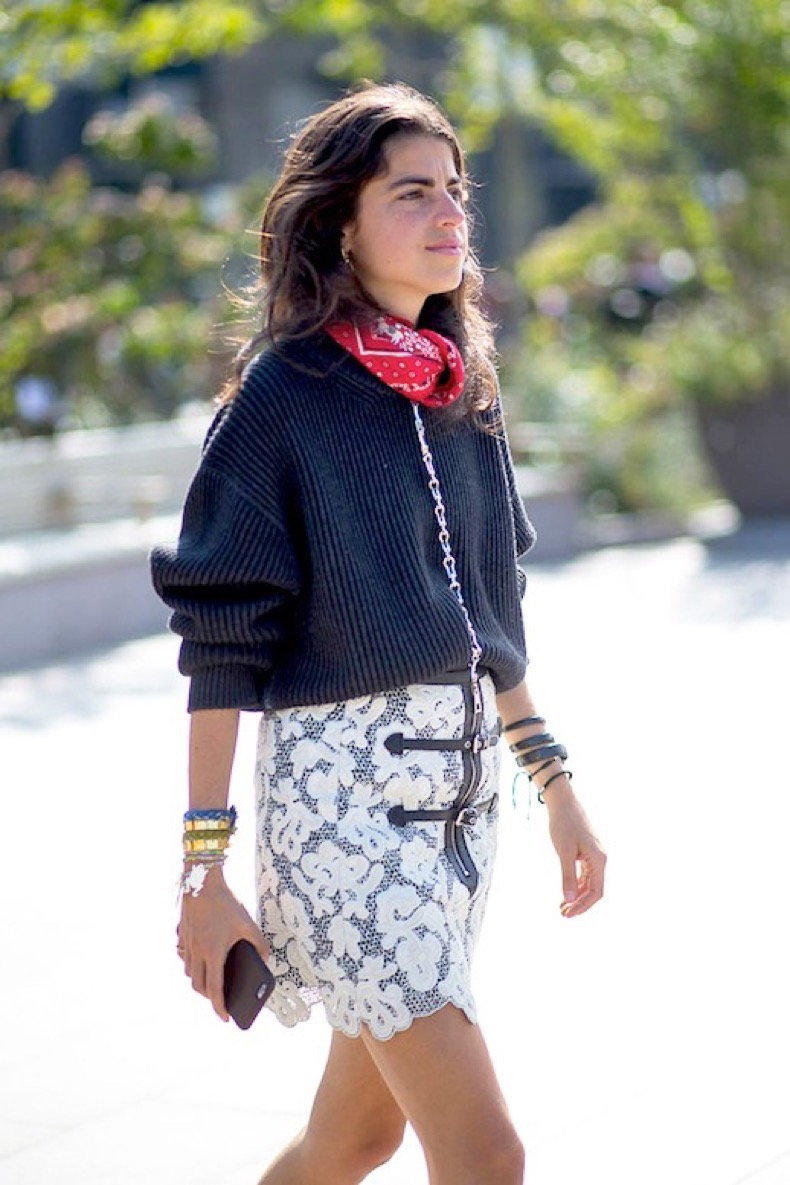 Le-Fashion-Blog-Street-Style-Lfw-Leandra-Medine-Red-Bandana-Neck-Scarf-Grey-Ribbed-Sweater-White-Lace-Skirt-Via-Harpers-Bazaar