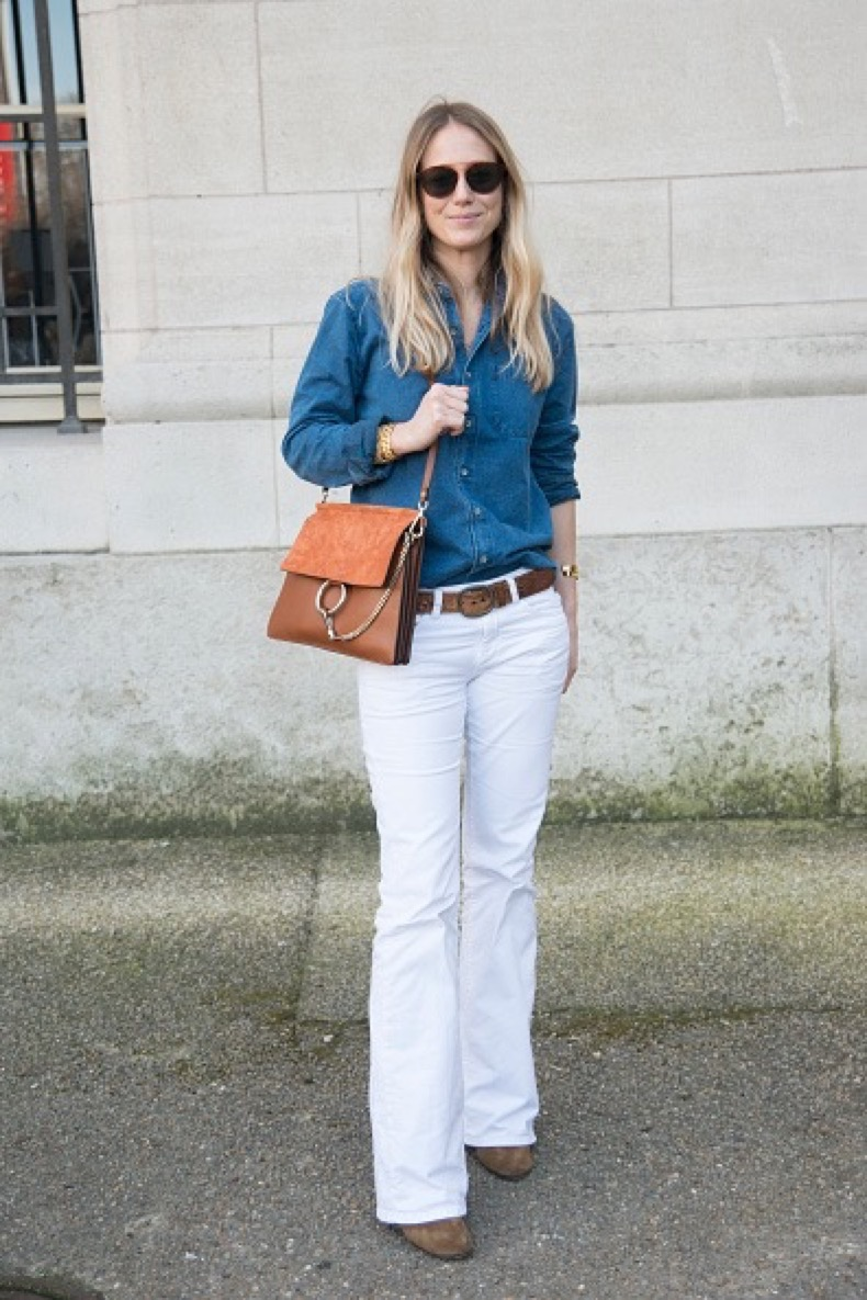 PARIS, FRANCE - MARCH 08: Editor in Chief of Vogue France Jennifer Neyt wears a Chloe bag at the Chloe show on day 6 of Paris Collections: Women on March 08, 2015 in Paris, France. (Photo by Kirstin Sinclair/Getty Images)