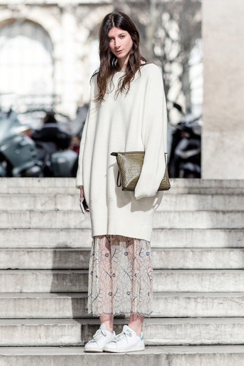 le-fashion-blog-street-style-layers-ivory-sweater-dress-floral-maxi-skirt-white-sneakers-via-garance-dore