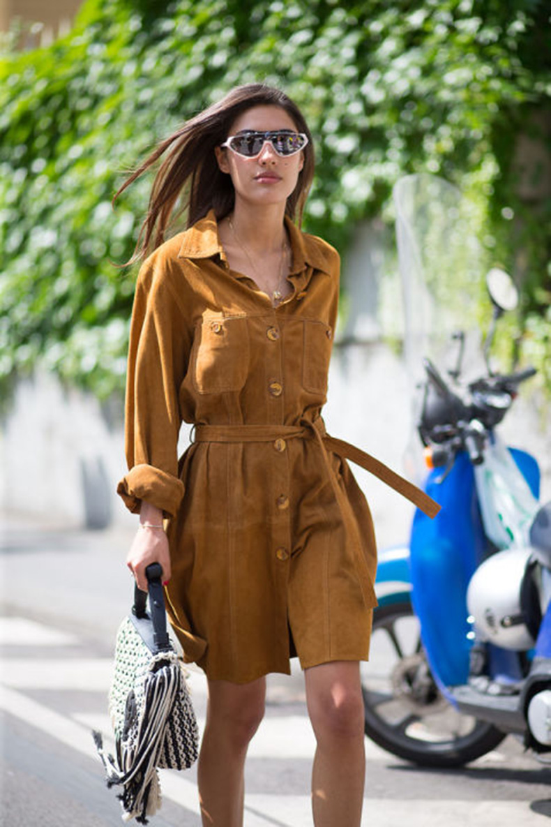 summer-work-outfits-summer-suede-shirt-dress-via-hbz